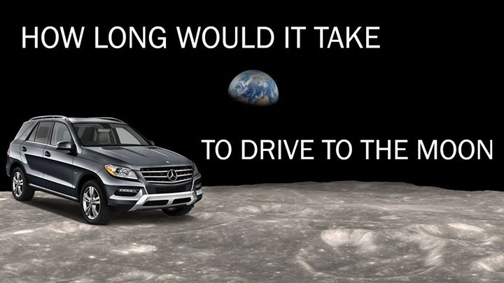 It would take less than a month to get to the moon by car…