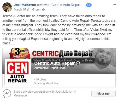 Centric Auto Repair Reviews